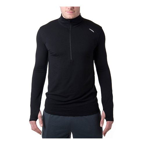 Mens Tasc Performance Compass Merino Long Sleeve Half Zip Technical Tops - Black L