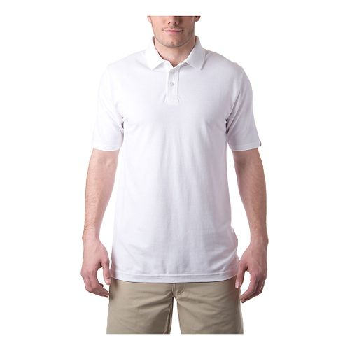 Mens Tasc Performance St. Charles Pique Polo Short Sleeve Technical Tops - White XL