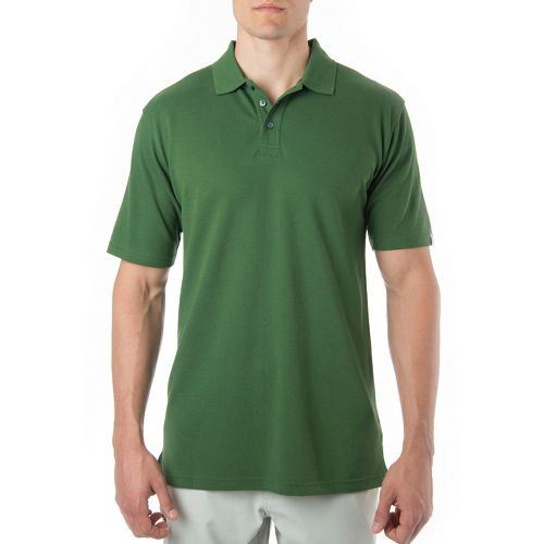 Mens Tasc Performance St. Charles Pique Polo Short Sleeve Technical Tops - Pine Green M ...