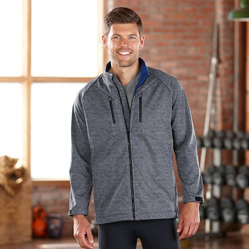 Mens Road Runner Sports Warmth Speed Soft Shell Outerwear Jacket - Heather Charcoal XL