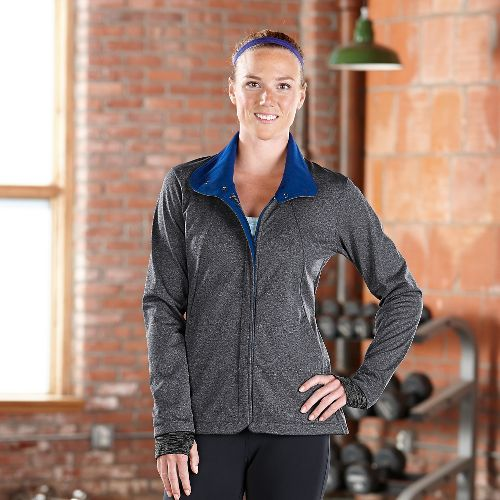 Womens Road Runner Sports Run With The Wind Softshell Outerwear Jacket - Heather Charcoal S