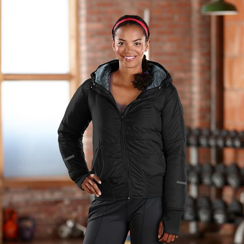 Womens Road Runner Sports Take Flight Insulated Running Jacket - Black S
