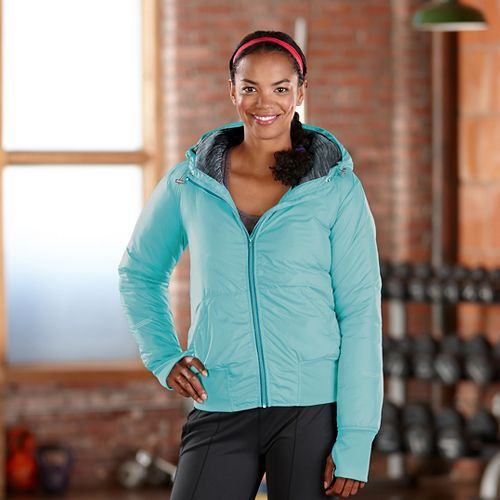 Womens Road Runner Sports Take Flight Insulated Running Jacket - Aruba Blue L