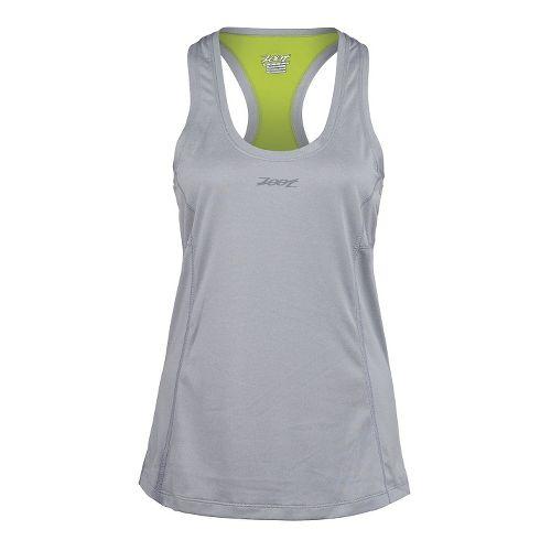 Womens Zoot Run Sunset Singlet Tank Technical Tops - Silver/Spring Green XS