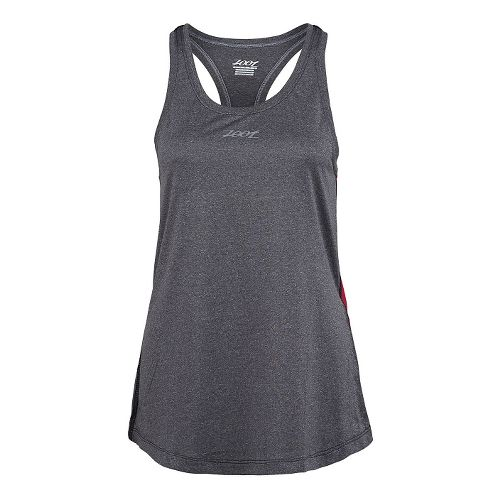 Womens Zoot Run Sunset Tank Technical Tops - Black Heather Punch XL