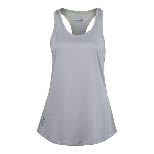 Womens Zoot Run Sunset Tank Technical Tops - Silver/Spring Green XL