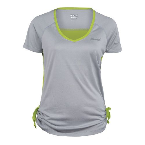 Womens Zoot Run Sunset Tee Short Sleeve Technical Tops - Silver/Spring Green XS