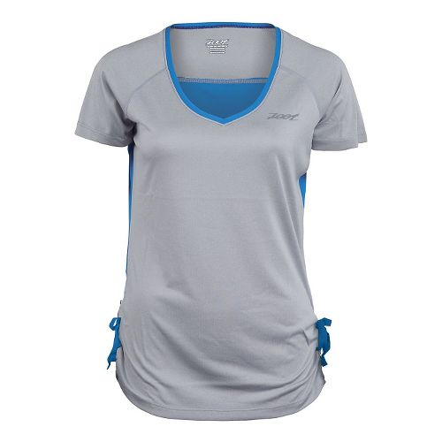 Womens Zoot Run Sunset Tee Short Sleeve Technical Tops - Silver Strand/Heather M
