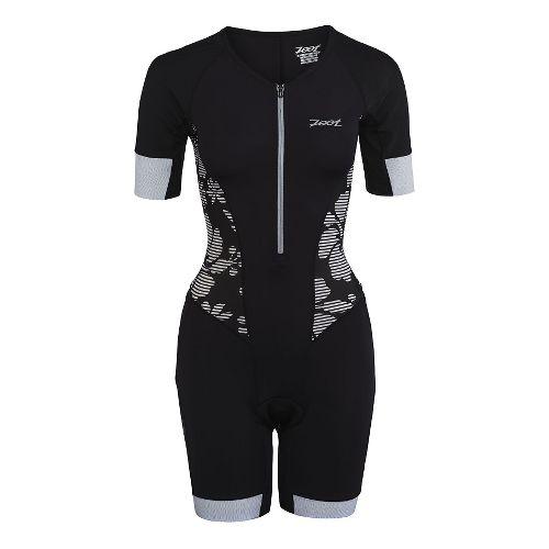 Womens Zoot Ultra Tri Aero Skinsuit Triathlete UniSuits - Black Island XS