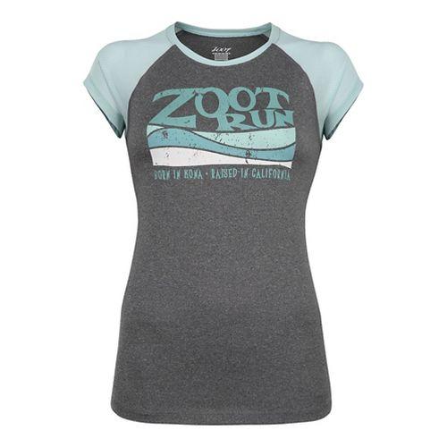 Womens Zoot Run Sunset Graphic Tee Short Sleeve Technical Tops - Black Heather/Lagoon L