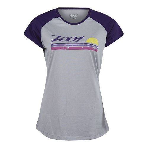 Womens Zoot Run Sunset Graphic Tee Short Sleeve Technical Tops - Silver/Deep Purple M