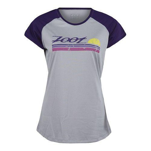 Womens Zoot Run Sunset Graphic Tee Short Sleeve Technical Tops - Silver/Deep Purple XL