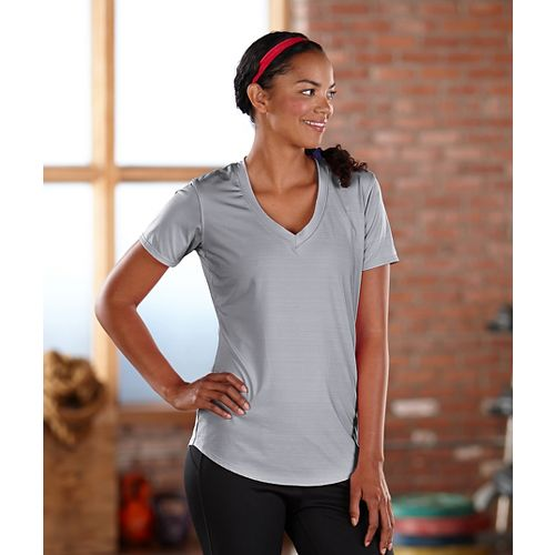 Womens Road Runner Sports Finish First Short Sleeve Technical Tops - Dove Grey M
