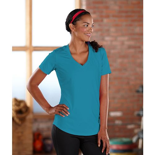 Womens Road Runner Sports Finish First Short Sleeve Technical Tops - Laguna Blue XS