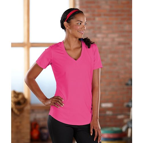 Womens Road Runner Sports Finish First Short Sleeve Technical Tops - Pink Pop L