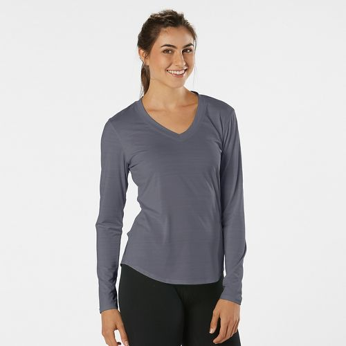 Womens Road Runner Sports Finish First Long Sleeve No Zip Technical Tops - Grey Mist ...