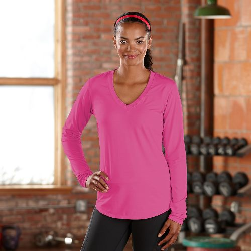 Womens Road Runner Sports Finish First Long Sleeve No Zip Technical Tops - Pink Pop ...