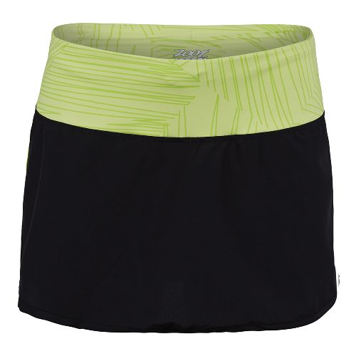 Womens Zoot Run PCH Skort Fitness Skirts - Black/Spring Green XL