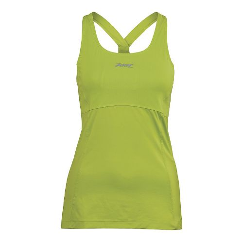 Womens Zoot Run Moonlight Racerback Bra Tank Technical Tops - Spring Green L