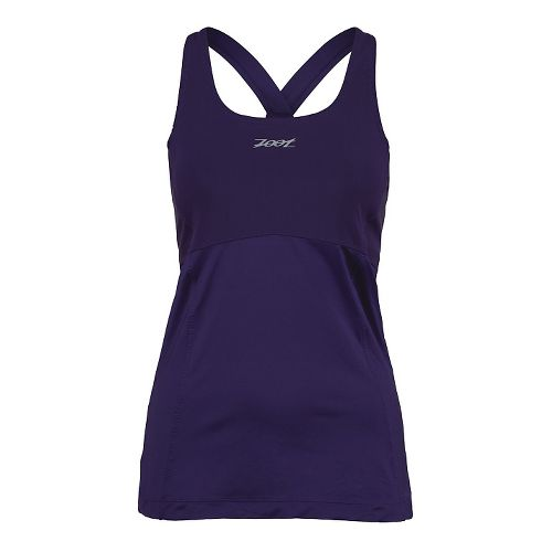Womens Zoot Run Moonlight Racerback Bra Tank Technical Tops - Deep Purple L