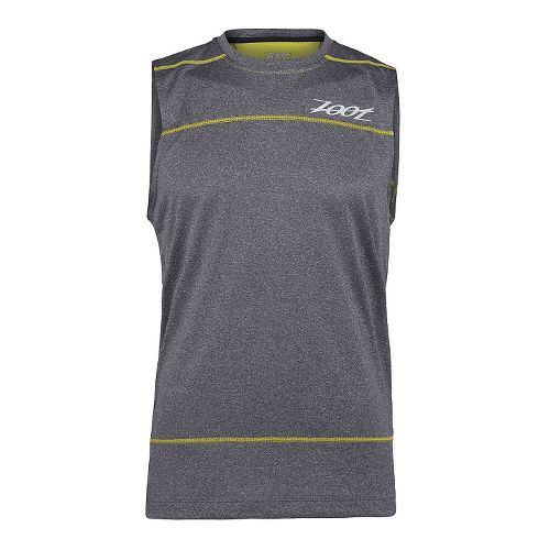Mens Zoot Run Surfside Sleeveless Technical Tops - Black Heather/Yellow L