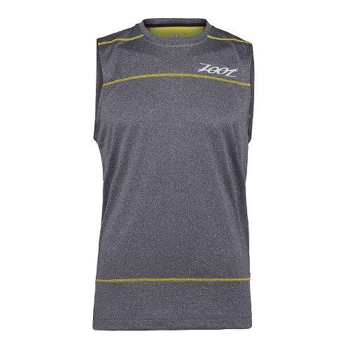 Mens Zoot Run Surfside Sleeveless Technical Tops - Black Heather/Yellow XS