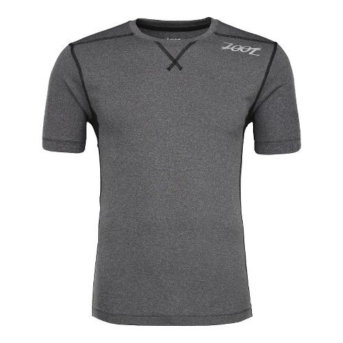 Mens Zoot Run Surfside Tee Short Sleeve Technical Tops - Black Heather/Black M