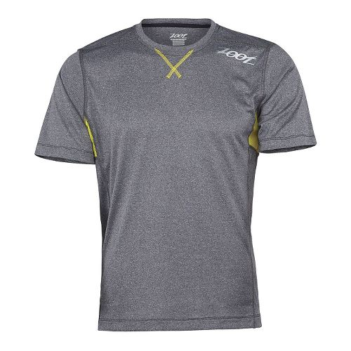 Mens Zoot Run Surfside Tee Short Sleeve Technical Tops - Black Heather/Yellow M