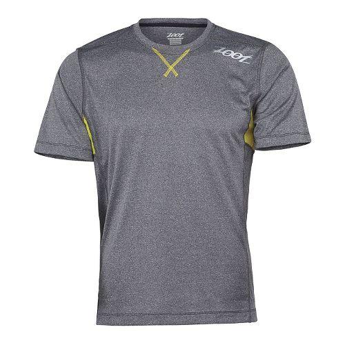 Mens Zoot Run Surfside Tee Short Sleeve Technical Tops - Black Heather/Yellow XS