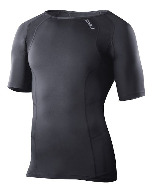 Mens 2XU Compression Short Sleeve Technical Tops - Black/Black S