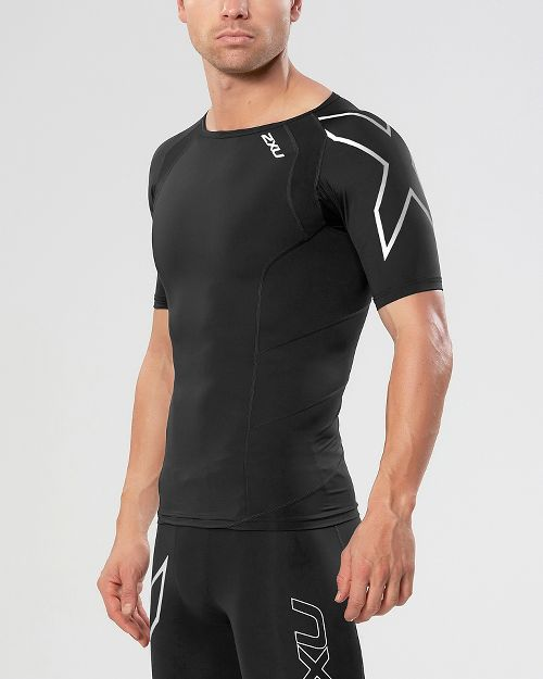Mens 2XU Compression Short Sleeve Technical Tops - Black/Silver L