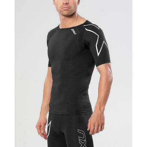 Mens 2XU Compression Short Sleeve Technical Tops - Black/Silver XL