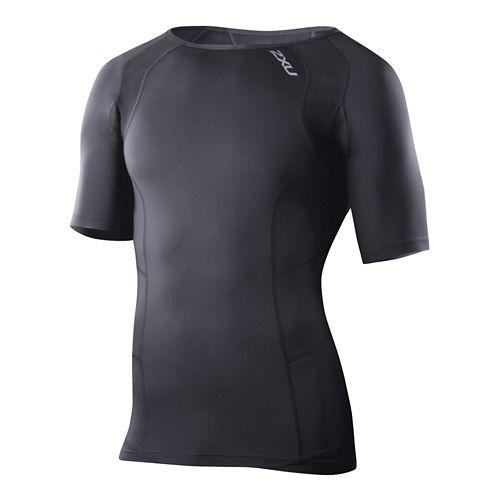 Mens 2XU Compression Crew Neck Short Sleeve Technical Tops - Black/Black S