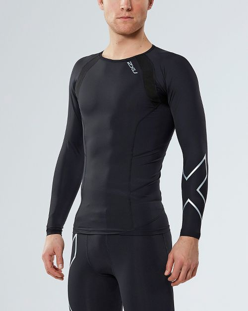 Mens 2XU Compression Long Sleeve Technical Tops - Black/Silver X M
