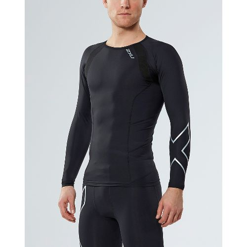 Mens 2XU Compression Long Sleeve Technical Tops - Black/Silver X L