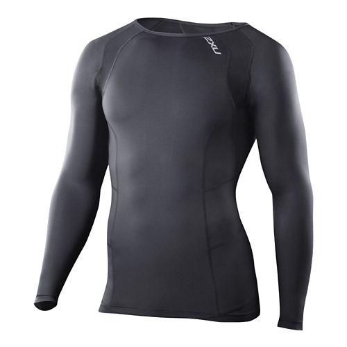 Mens 2XU Compression Crew Neck Long Sleeve No Zip Technical Tops - Black/Black M