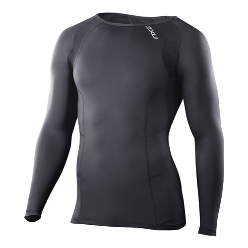 Mens 2XU Compression Crew Neck Long Sleeve No Zip Technical Tops - Black/Black XXL