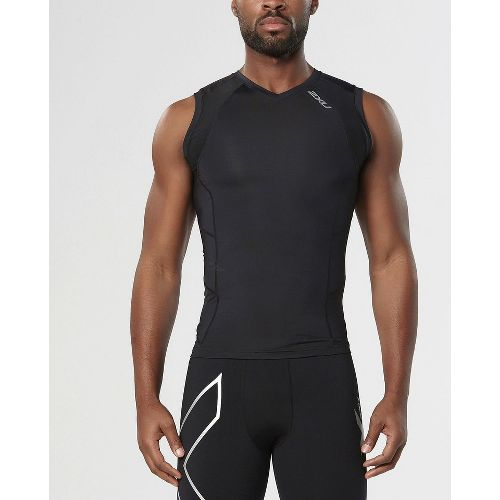 Mens 2XU Compression Sleeveless Technical Tops - Black/Black S