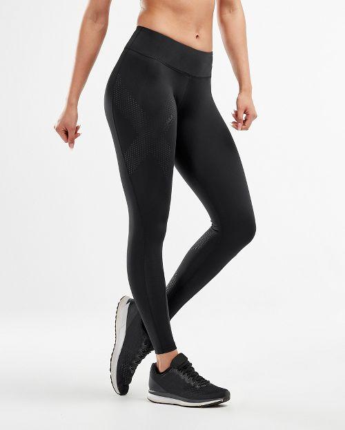 Womens 2XU Mid-Rise Compression Tights - Black/Dotted Black M-T