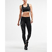 Womens 2XU Mid-Rise Compression Tights - Black/Dotted S