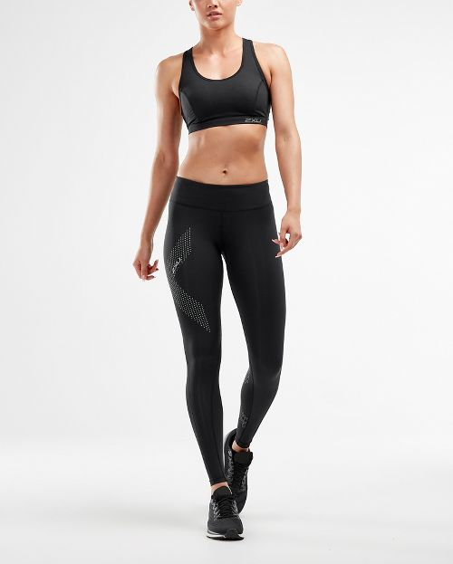 Womens 2XU Mid-Rise Compression Tights - Black/Dotted S-T