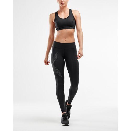 Womens 2XU Mid-Rise Compression Tights - Black/Dotted L-T