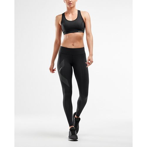 Womens 2XU Mid-Rise Compression Tights - Black/Dotted M-T