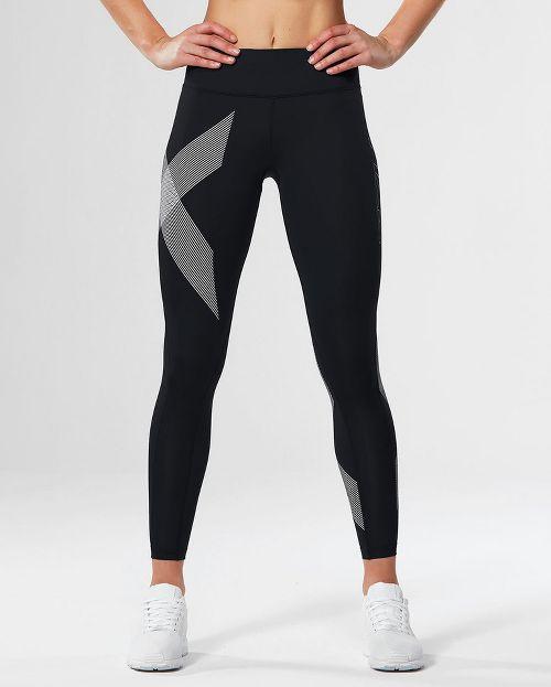 Womens 2XU Mid-Rise Compression Tights - Black/Striped White M
