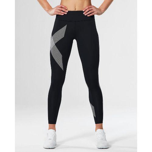 Womens 2XU Mid-Rise Compression Tights - Black/Striped White S