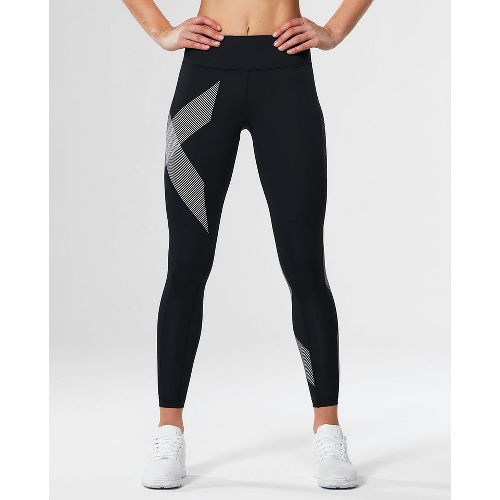 Womens 2XU Mid-Rise Compression Tights - Black/Striped White XS