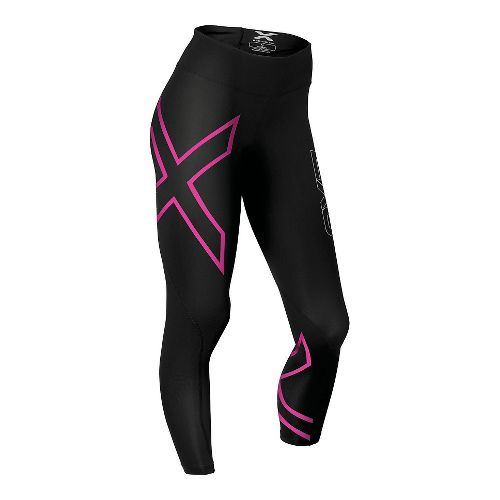 Womens 2XU Mid-Rise Compression Tights - Black/Cerise XL