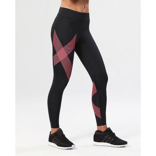 Womens 2XU Mid-Rise Compression Tights - Black/Striped Pink XL