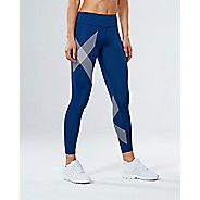 Womens 2XU Mid-Rise Compression Tights - Blue/Striped White XS