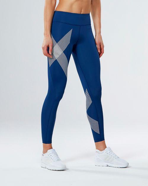 Womens 2XU Mid-Rise Compression Tights - Blue/Striped White L